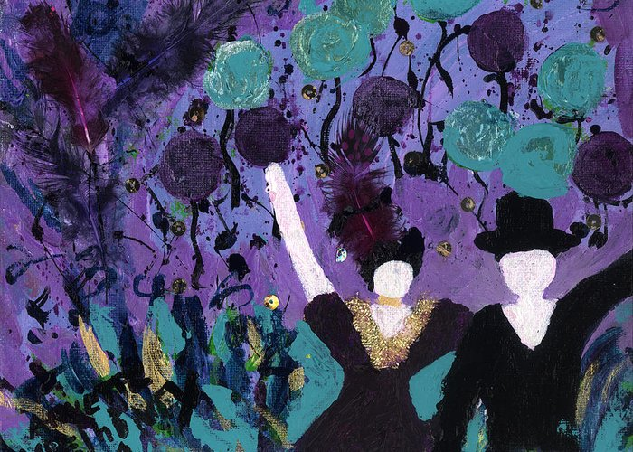 Women Greeting Card featuring the painting Althea Dances With Ned by Annette McElhiney