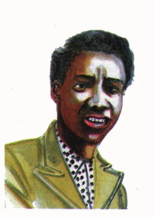 Portraits Greeting Card featuring the painting Althea Gibson by Emmanuel Baliyanga
