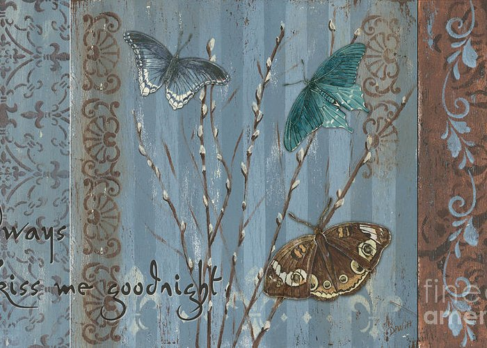 Butterfly Greeting Card featuring the painting Always Kiss Me Goodnight by Debbie DeWitt