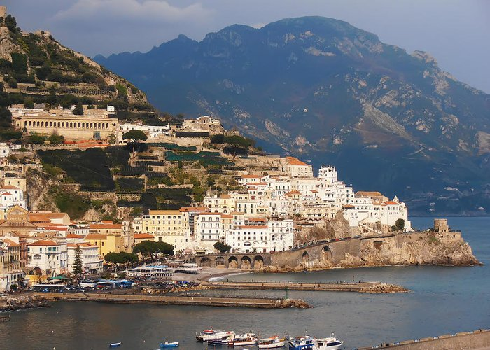 Amalfi By The Sea Greeting Card featuring the photograph Amalfi by Bill Cannon