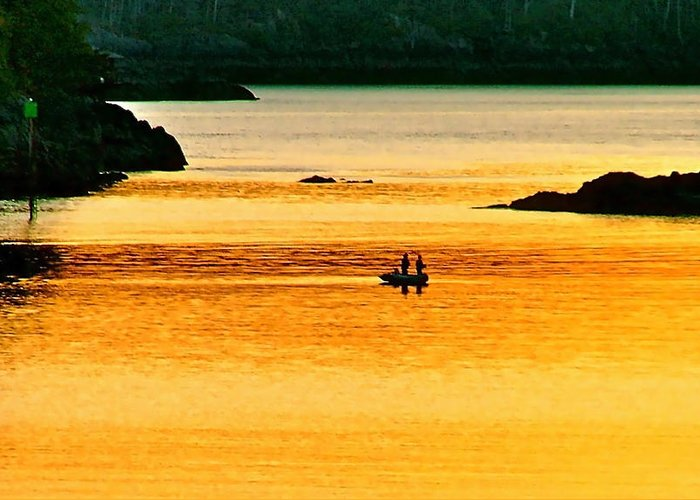Sunset Greeting Card featuring the photograph Amber Angling by Brent Sisson