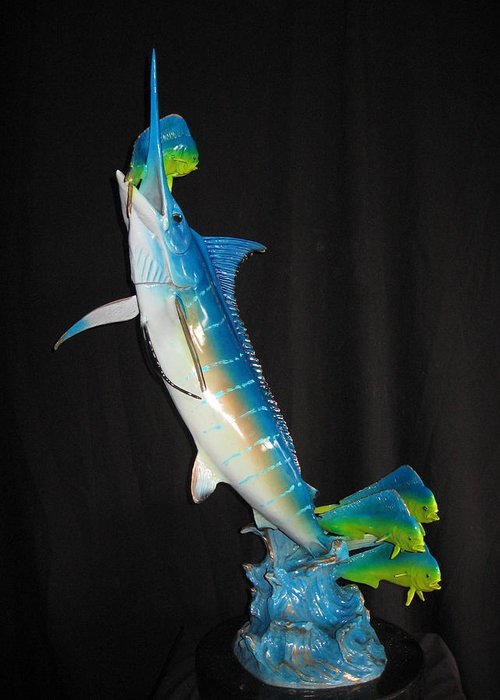 Blue Marlin Greeting Card featuring the sculpture Ambush by John Townsend