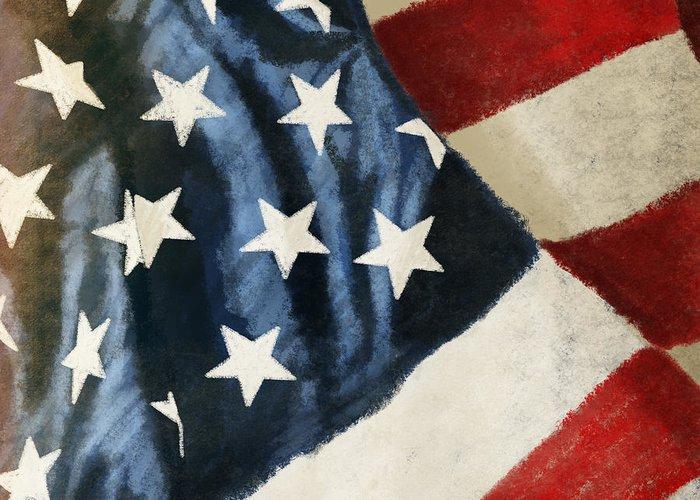 4th Greeting Card featuring the painting America Flag by Setsiri Silapasuwanchai