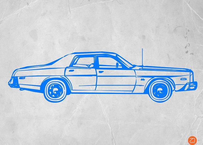 Auto Greeting Card featuring the digital art American Car by Naxart Studio