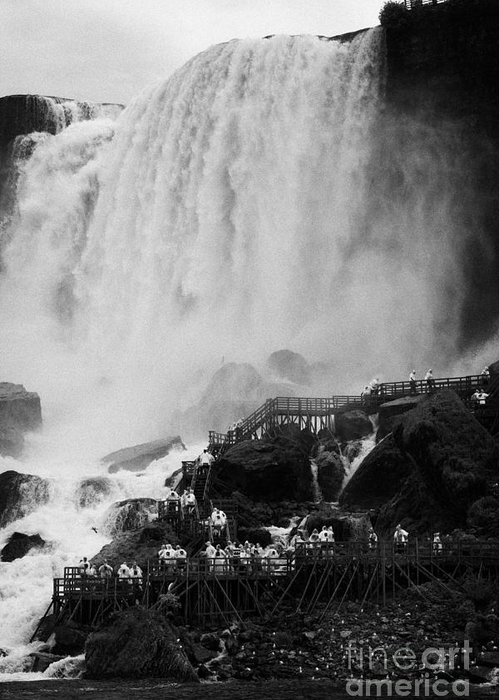 Niagara Falls Greeting Card featuring the photograph American Falls With Cave Of The Winds Walkway Niagara Falls New York State Usa by Joe Fox