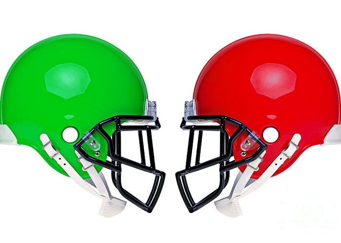 American Football Greeting Card featuring the photograph American Football Helmets Isolated by Richard Thomas