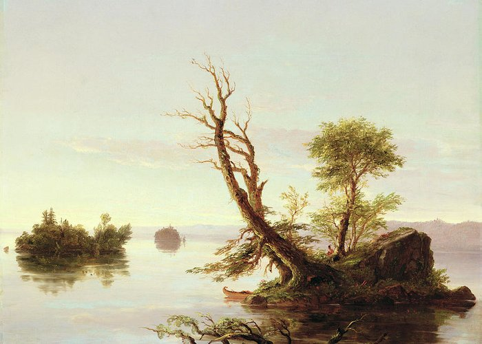 American Lake Scene Greeting Card featuring the painting American Lake Scene by Thomas Cole