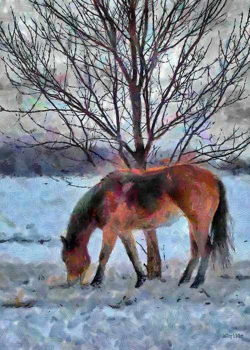 Horse Greeting Card featuring the painting American Paint In Winter by Jeff Kolker