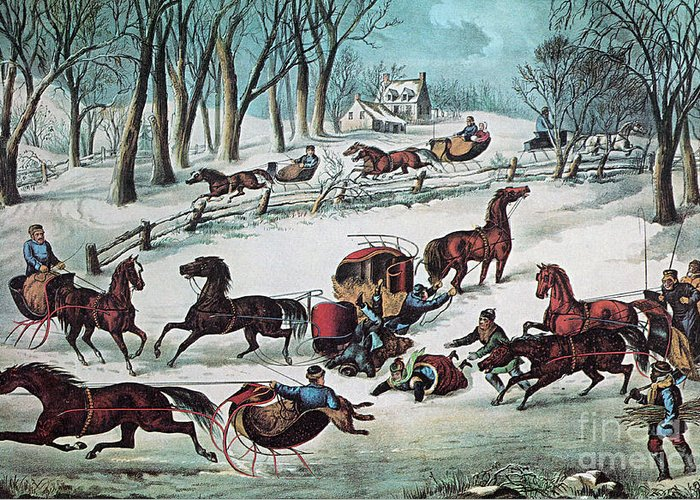 History Greeting Card featuring the photograph American Winter 1870 by Photo Researchers