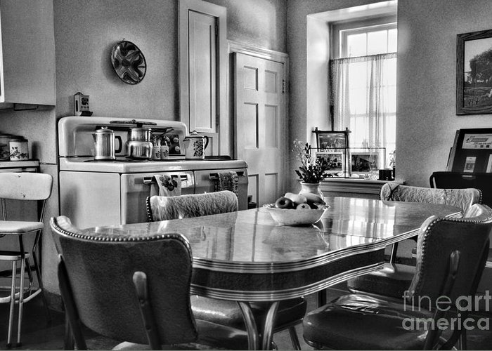Paul Ward Greeting Card featuring the photograph Americana - 1950 Kitchen - 1950s - Retro Kitchen Black And White by Paul Ward