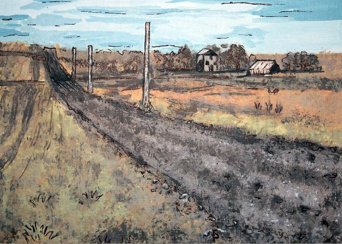 Americana Greeting Card featuring the painting Americana No.6 Rural Road No.2 by Sheri Buchheit