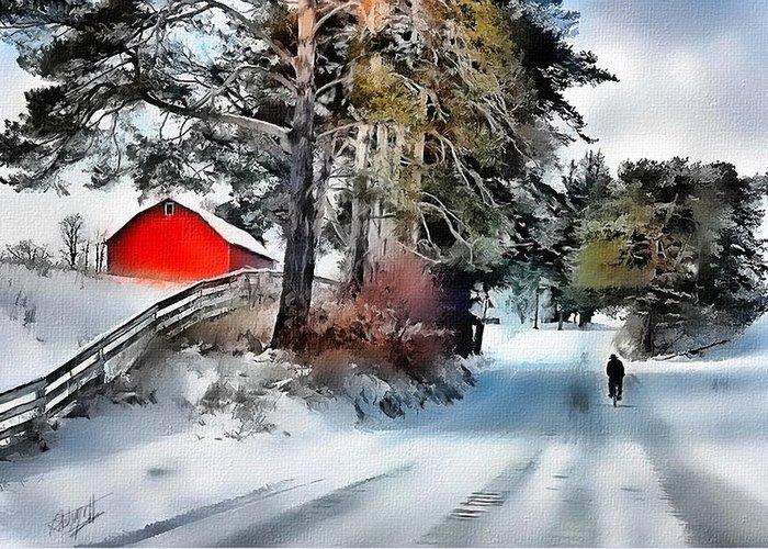 Farms Greeting Card featuring the digital art Amish Boy On Bike by Tom Schmidt