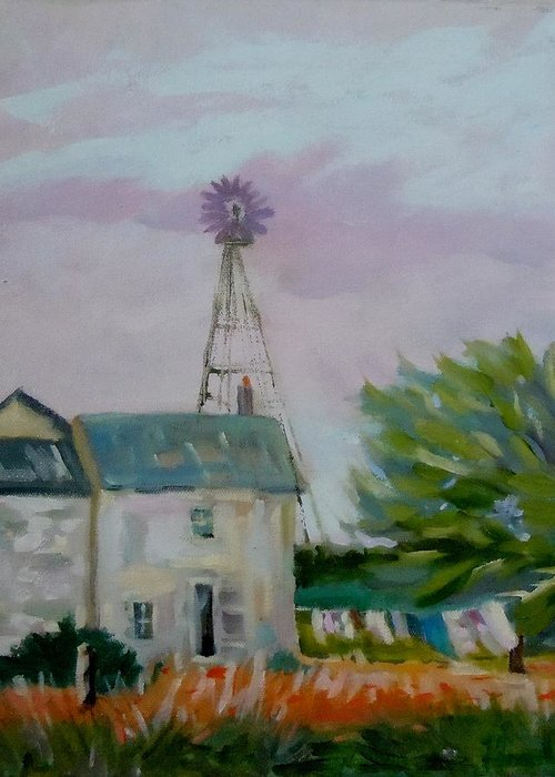 Landscape Greeting Card featuring the painting Amish Farmhouse by Francine Frank