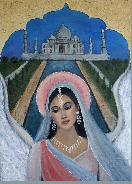 Angel Greeting Card featuring the painting Amishi An Earth Angel Representing A Young Bride On Her Wedding Day by The Art With A Heart By Charlotte Phillips