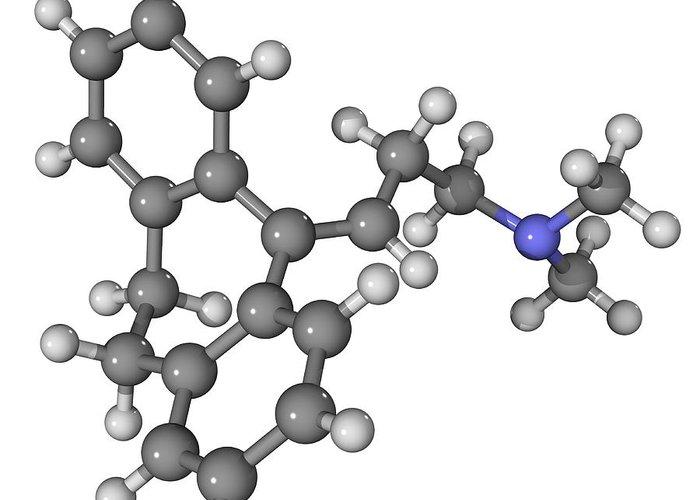 Molecular Greeting Card featuring the photograph Amitriptyline Antidepressant Molecule by Laguna Design