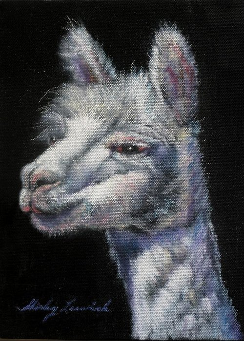 Animal Greeting Card featuring the painting Amorous Alpaca by Shirley Leswick