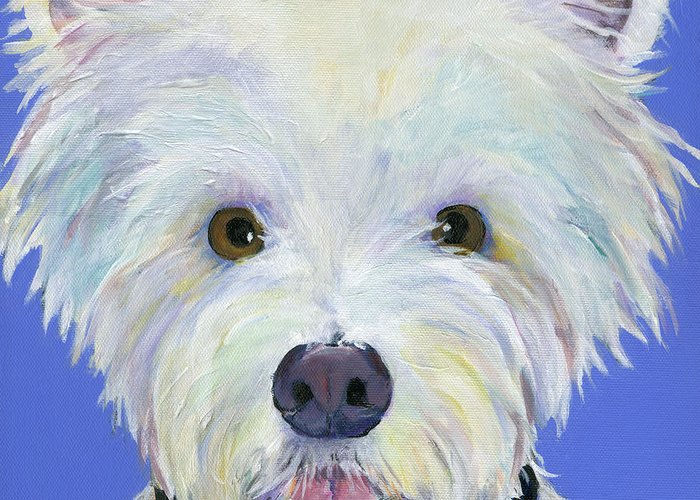 West Highland Terrier Greeting Card featuring the painting Amos by Pat Saunders-White