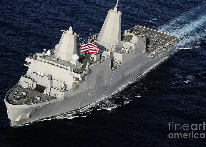 Military Greeting Card featuring the photograph Amphibious Transport Dock Ship Uss San by Stocktrek Images