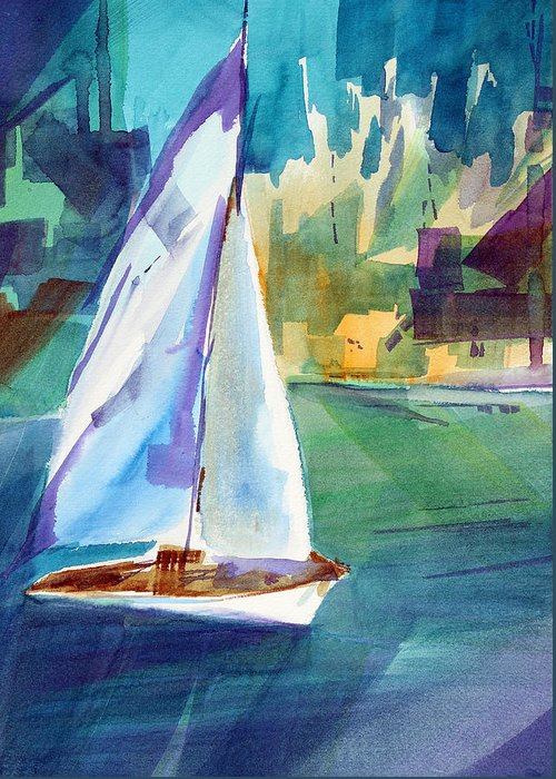 Sailboat Greeting Card featuring the painting Amy's Boat. by Josh Chilton