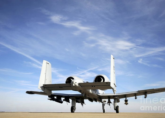 Us Air Force Greeting Card featuring the photograph An A-10 Thunderbolt II Taxies by Stocktrek Images