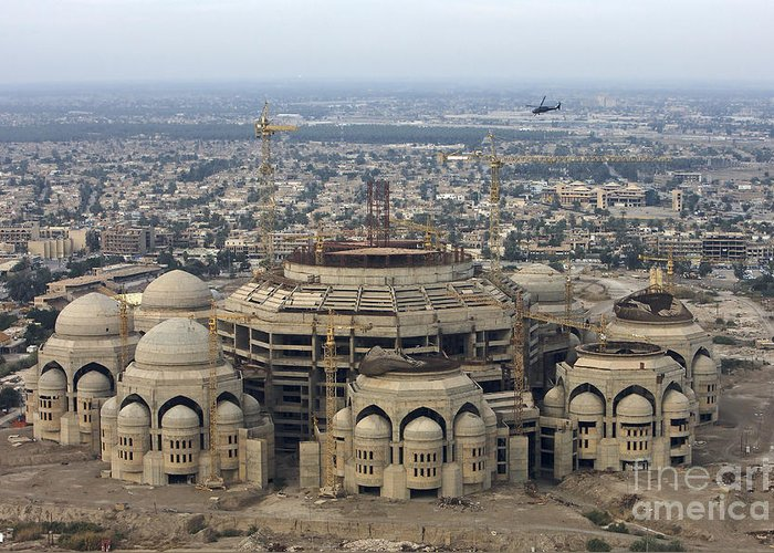 Aerial View Greeting Card featuring the photograph An Aerial View Of Saddam Hussiens Great by Terry Moore