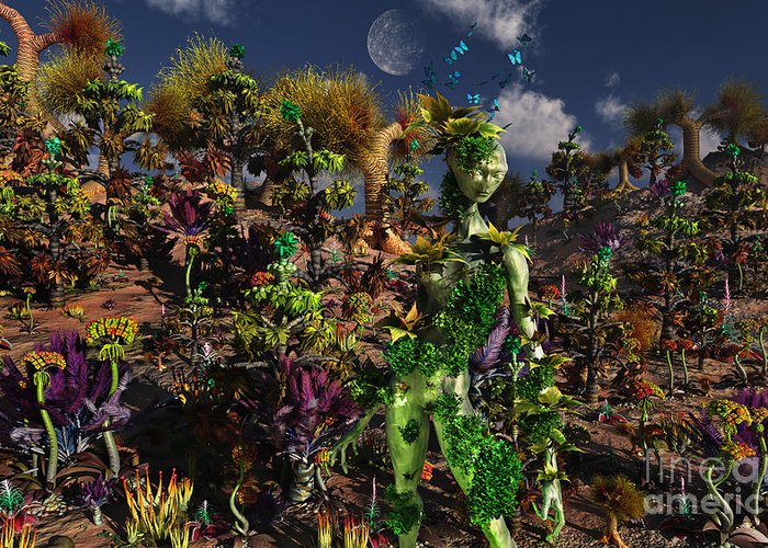 No People Greeting Card featuring the digital art An Alien Being Blending by Mark Stevenson