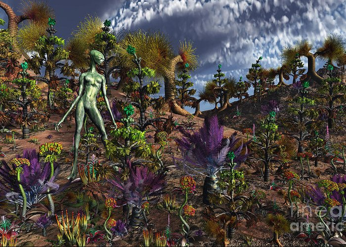 No People Greeting Card featuring the digital art An Alien Being Surveys The Colorful by Mark Stevenson