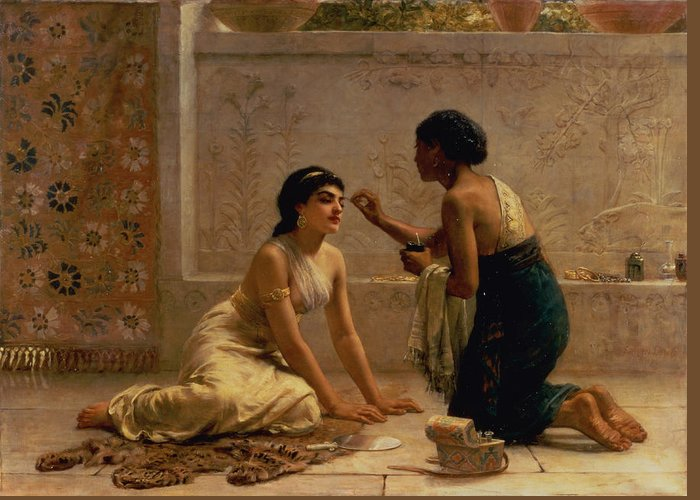 Fan; Leopard Skin; Eyebrow Plucking Greeting Card featuring the painting An Ancient Custom by Edwin Longsden Long