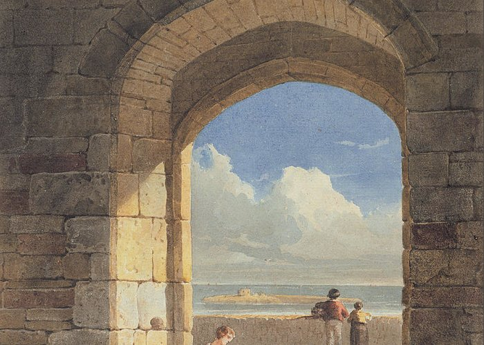 Arch Greeting Card featuring the painting An Arch At Holy Island - Northumberland by John Varley