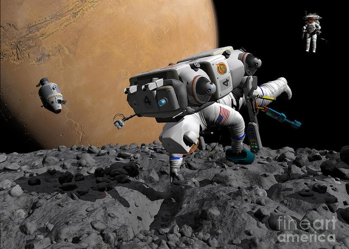 Astronautics Greeting Card featuring the digital art An Astronaut Makes First Human Contact by Walter Myers