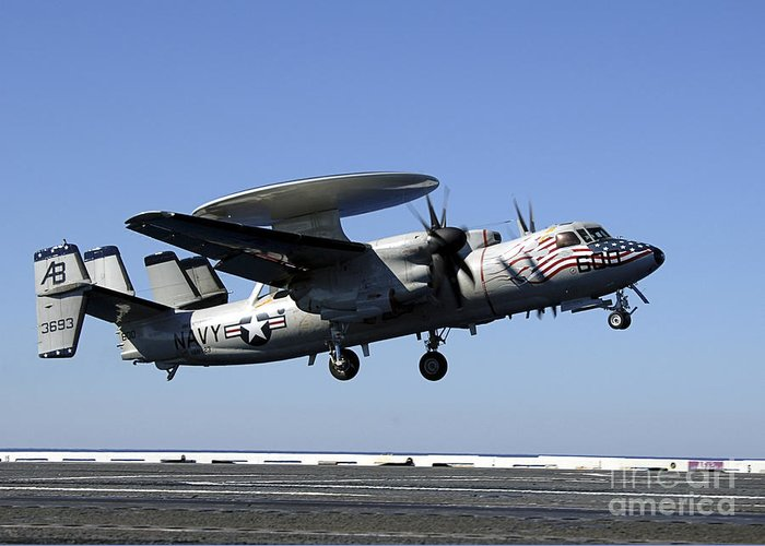 Aircraft Greeting Card featuring the photograph An E-2c Hawkeye Conducts A Touch-and-go by Stocktrek Images