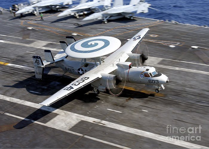 Flight Deck Greeting Card featuring the photograph An E-2c Hawkeye Lands On The Flight by Stocktrek Images