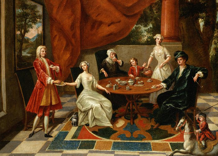 Elegant Greeting Card featuring the painting An Elegant Family Taking Tea by Gavin Hamilton