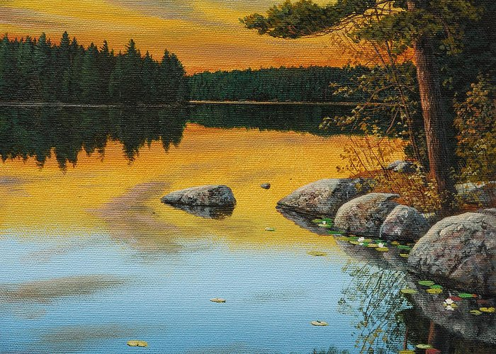 Jake Vandenbrink Greeting Card featuring the painting An Evening Glow by Jake Vandenbrink