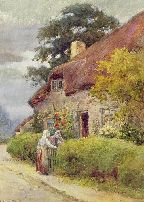 Thatched Cottage Greeting Card featuring the painting An Evening Gossip by Joshua Fisher