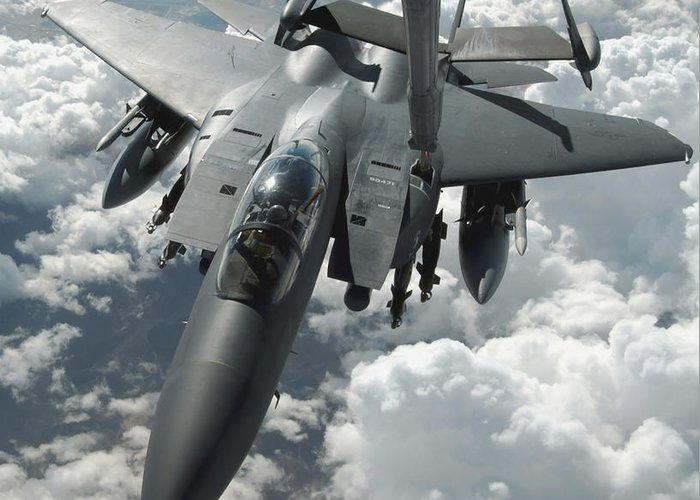 Color Image Greeting Card featuring the photograph An F-15 E Strike Eagle Receives Fuel by Stocktrek Images