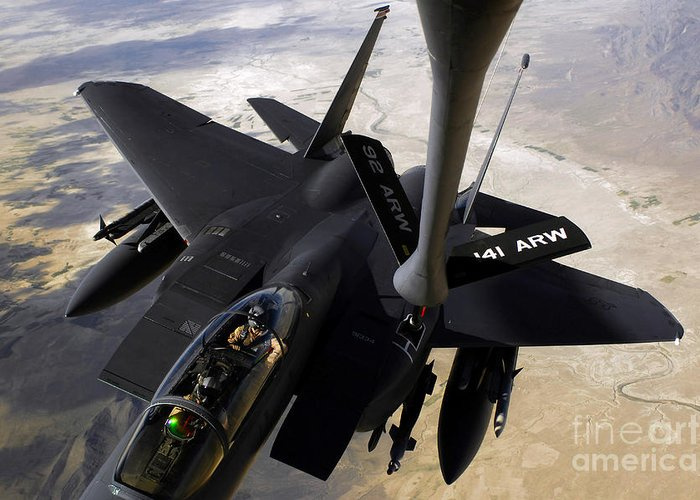 Canopy Greeting Card featuring the photograph An F-15e Strike Eagle Aircraft Receives by Stocktrek Images