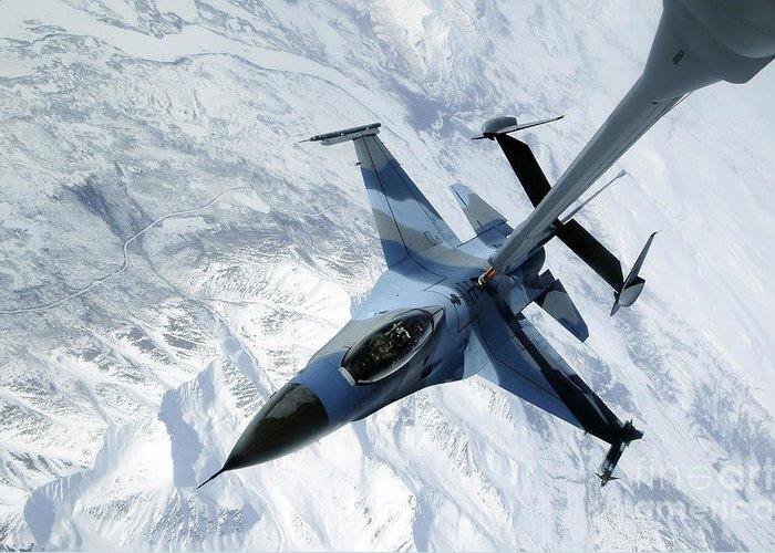 F-16 Greeting Card featuring the photograph An F-16 Aggressor Sits In Contact by Stocktrek Images