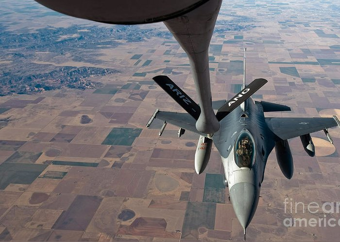 Air-to-air Greeting Card featuring the photograph An F-16 Fighting Falcon Moves by Stocktrek Images