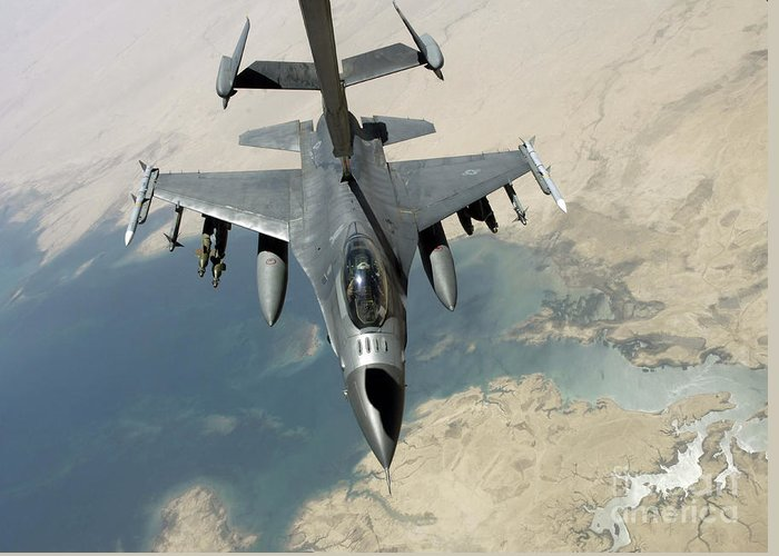 Adults Only Greeting Card featuring the photograph An F-16 Fighting Falcon Refuels by Stocktrek Images