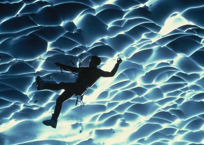 Color Image Greeting Card featuring the photograph An Ice Climber Crosses The Ceiling by Carsten Peter