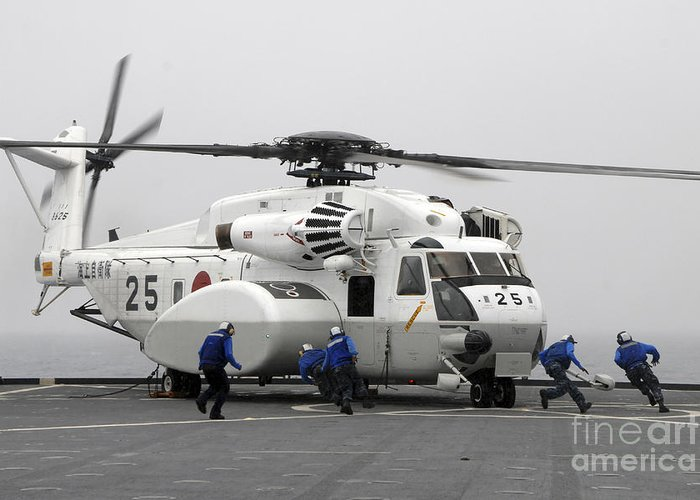 Motion Greeting Card featuring the photograph An Mh-53e Super Stallion Helicopter by Stocktrek Images