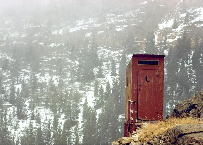 North America Greeting Card featuring the photograph An Outhouse Perches On A Hillside by Rex A. Stucky