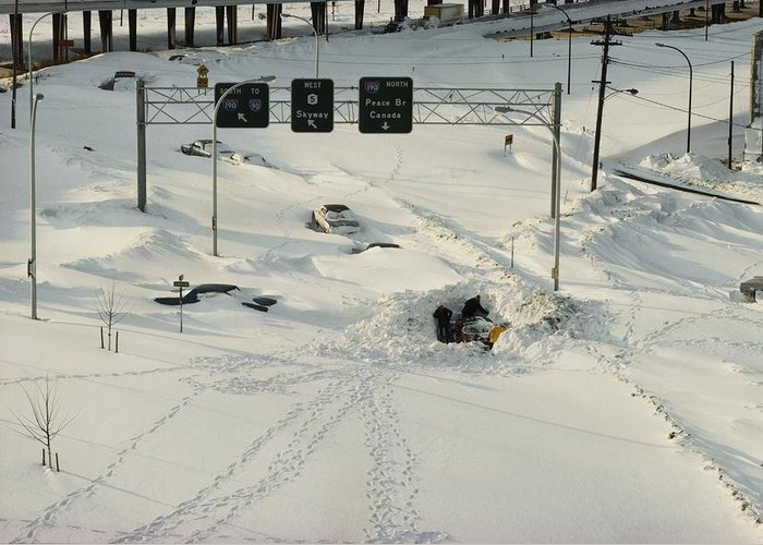 Winter Views Greeting Card featuring the photograph An Overhead View Of Buried Cars On An by Ira Block