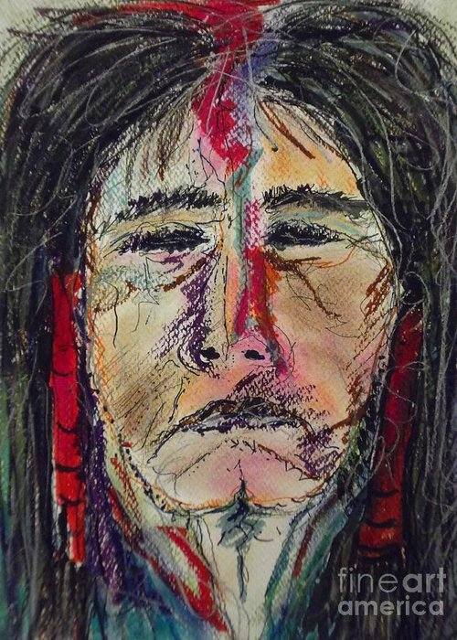 Native American Portrait Of One Of My Spirit Guides Greeting Card featuring the mixed media Ancient One by Nashoba Szabol