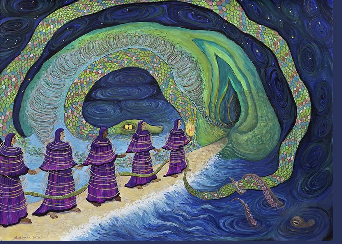 Women Greeting Card featuring the painting Ancient Serpent by Shoshanah Dubiner