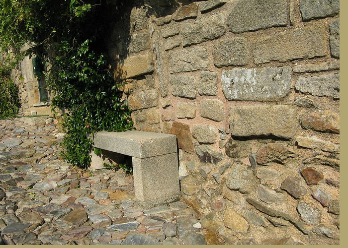 Bench Greeting Card featuring the photograph Ancient Wall by Arlene Carmel
