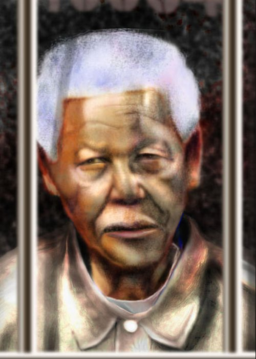 Nelson Mandela Greeting Card featuring the painting And God Remembered Prisoner 46664 by Reggie Duffie