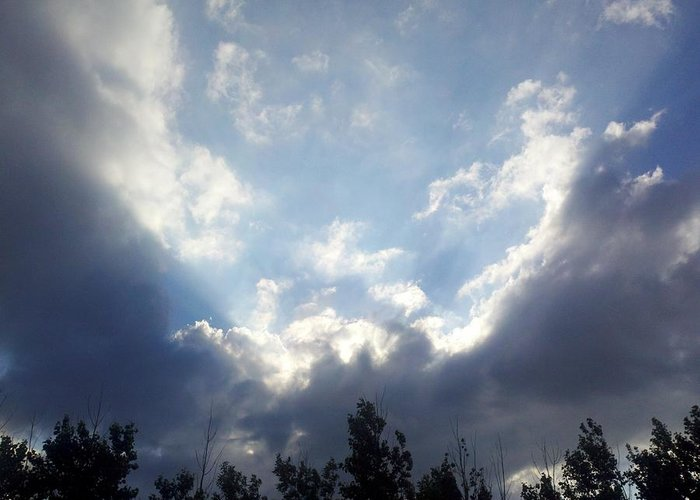 Clouds Greeting Card featuring the photograph And The Clouds Opened Up by Christy Patino