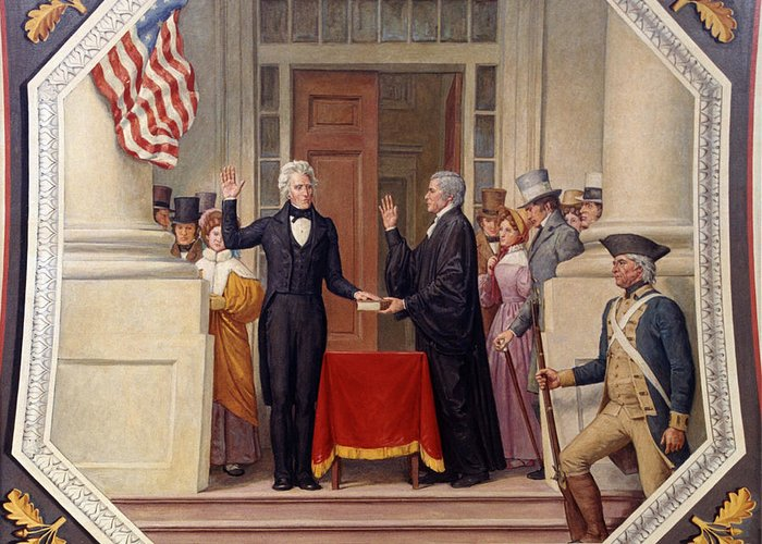 andrew Jackson Greeting Card featuring the photograph Andrew Jackson At The First Capitol Inauguration - C 1829 by International Images